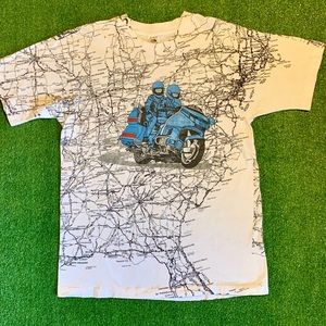 90s USA Motorcycle All Over Print T-shirt